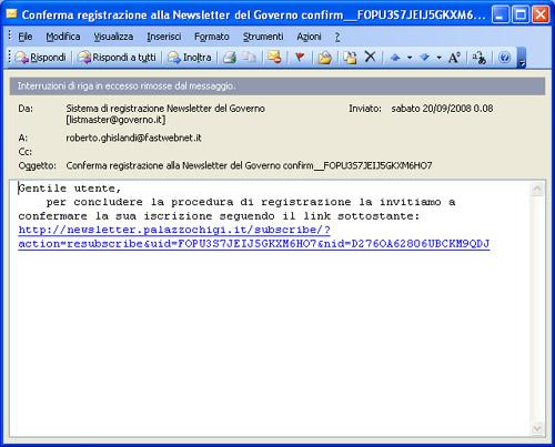 Email per la conferma d'iscrizione